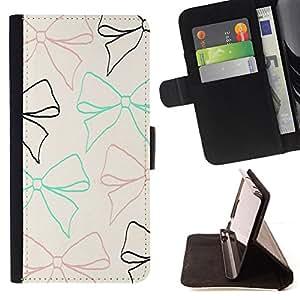 BullDog Case - FOR/Apple Iphone 6 / - / bow tie beige teal brown black pattern /- Monedero de cuero de la PU Llevar cubierta de la caja con el ID Credit Card Slots Flip funda de cuer