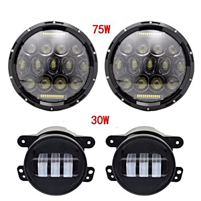 AUSI Pair 7 Inch 75W Low/High/DRL Led Headlight + 4 Inch 30W Led Fog Headlight Black Housing for Jeep Wrangler Jk Tj Harley Davidson FJ With H4-H13 Adapter