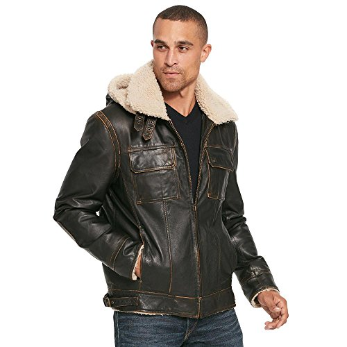 Wilsons Leather Mens Vintage Leather Bomber Jacket W/Faux-Shearling 2XL Brown (Wilsons Leather Jacket Men)