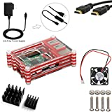 5 in 1 Kit for Raspberry Pi 3, Red Acrylic Sliced 9 layers Case Box + 2500mA Power Adapter Match ON/Off Cable + 200mA Cooling Fan + Two Aluminum Heatsinks + 5ft HDMI to HDMI Cable [Raspberry Pi 3 not include]
