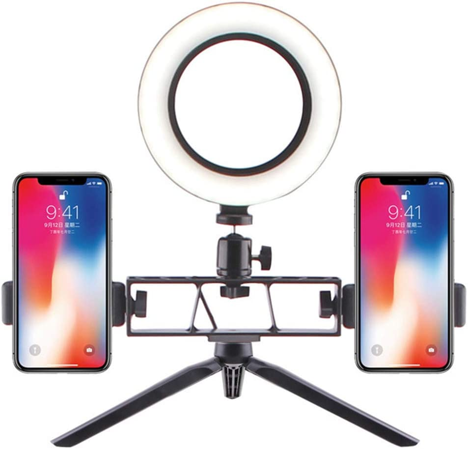 Make Up Beauty Live Streaming USB-Powered LED Ring Light: Power 5W Dimmable Camera Light with Desktop Triangle Bracket and 2 Phone Holder Ring Light for Videos