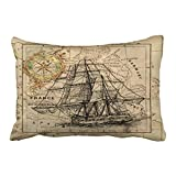 Accrocn Pillowcases Chic Antique Europe Map Ship Sail Nautical Marine Outdoor Cushion Decorative Pillowcase Polyester 20 x 30 Inch Rectangl Queen Size Pillow Covers With Hidden Zipper