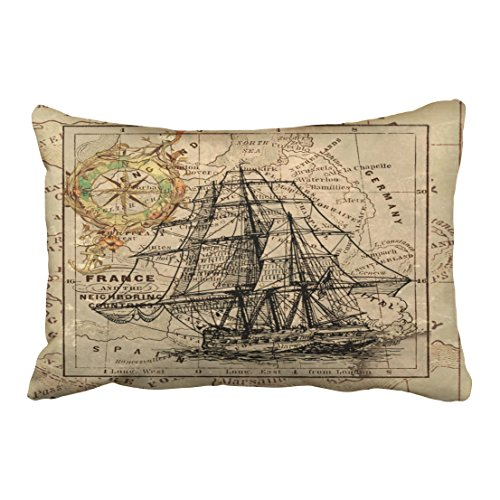 Accrocn Pillowcases Chic Antique Europe Map Ship Sail Nautical Marine Outdoor Cushion Decorative Pillowcase Polyester 20 x 30 Inch Rectangl Queen Size Pillow Covers With Hidden Zipper by Accrocn
