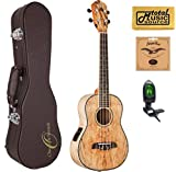 Oscar Schmidt Spalted Mango TENOR Acoustic/Electric Ukulele, OU7TE,w/Hard Case,Tuner,Strings & PC