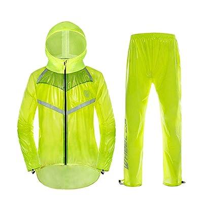 Guyuan Pantalones de Lluvia Impermeable de la Bicicleta Set de Montar en Bicicleta de montaña al Aire Libre Impermeable Dividido (Color : Fluorescent Yellow, Size : M): Jardín