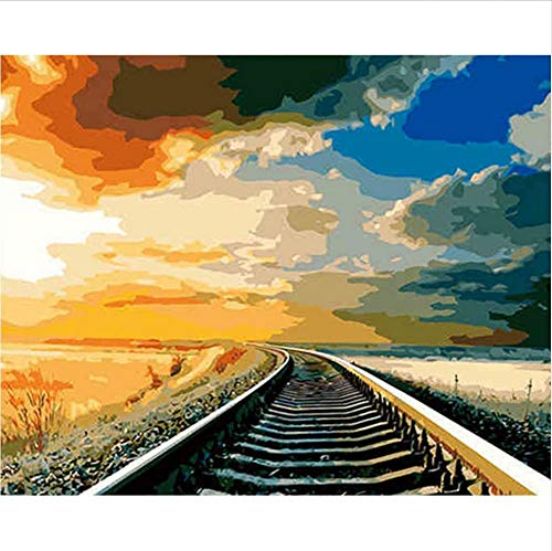 - Drawing Art Sets Train Track DIY Oil Painting Calligraphy Landscape Landscape Calligraphy Painting Propylene Picture On Canvas for Home Decor 50X60Cm