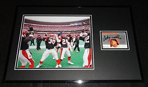 Autographed Ickey Woods Photo - Framed 11x17 Display Pro Line Shuffle - Autographed NFL Photos