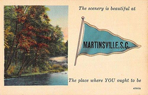 Martinsville South Carolina Scenic River Pennant Flag Antique Postcard K40393