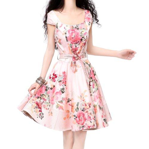 [Artka Women's Summer Cap Sleeve Peony Print Swing Dress M Pink] (Pink Renaissance Dress)