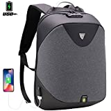 TSA Laptop Backpack, Travel Anti-theft & Water Resistant Backpack Business Bag College Students Book Bag with USB Charging Port Work Men & Women, fits 15.6-Inch Laptop and Notebook Grey