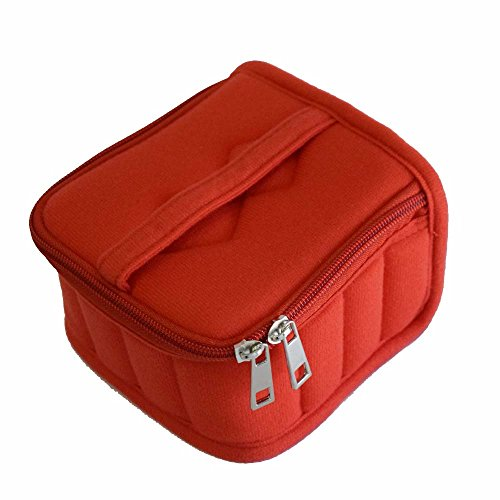 FUZEBAG 16 Bottles Essential Oil Carrying Case Shockproof Essential Oils Organizer Travel Bag Suitable for 5 ml,10 ml,15 ml Bottles with Portable Handle and Double Zipper (Red) (Zipper Double Organizer)