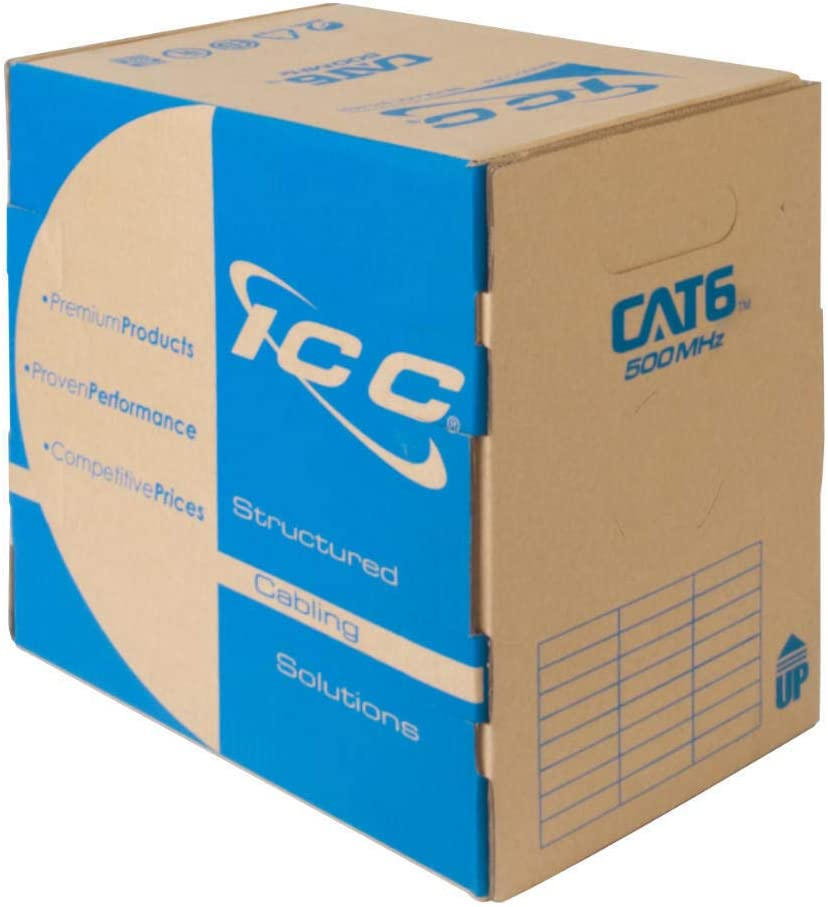 CMR Jacket in a Pull Box ICC 500Mhz CAT6 Bulk Cable with 23 AWG UTP Solid Wires 1000 Feet in Blue