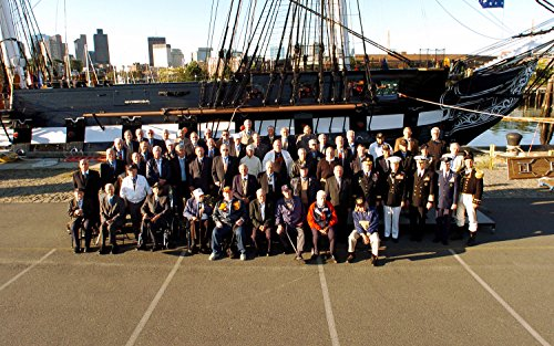Laminated Poster More Than 70 Medal of Honor recipients Pose for a Group Photo in Front of The USS Constitution, The Vivid Imagery Poster Print 24 x 36 ()