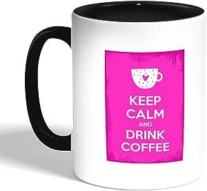 كوب سيراميك للقهوة بطبعة حافظ على الهدوء ، اسود