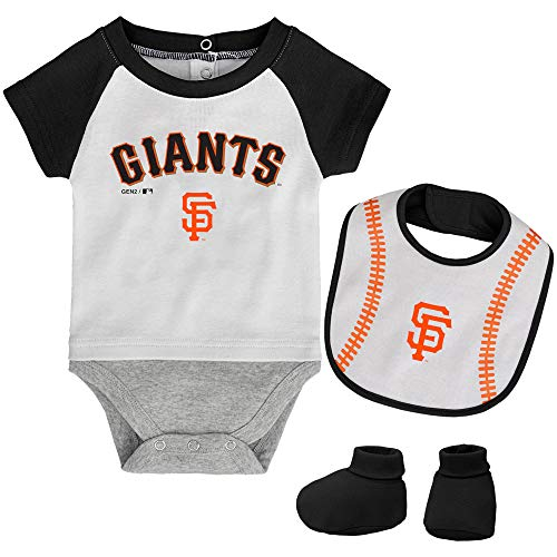 MLB Newborn Baseball Kid Bodysuit, Bib & Booties Set - White (6/9 Months, San Francisco Giants)