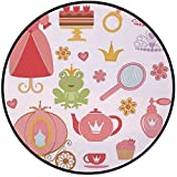 Printing Round Rug,Kids Decor,Princess Tiara Tea Party Mirror Teapot Tea Party Frog Crown Fairy Cupcake Girls Decorative Mat Non-Slip Soft Entrance Mat Door Floor Rug Area Rug For Chair Living Room,