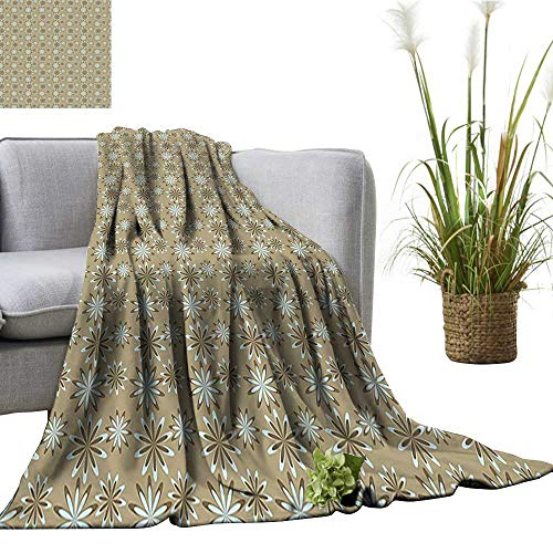 (YOYI Travel Blanket Trends Inspired istic Flower Chevr Display Light Blue Cocoa Sepia Easy to Carry Blanket 50