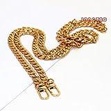 250PCS 47'' DIY Iron Flat Chain Strap Handbag Chains Accessories Purse Straps Shoulder Cross Body Replacement Straps, with 2pcs Metal Buckles (Gold)