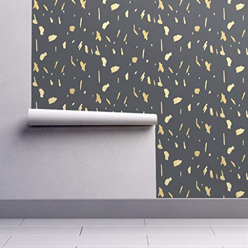 Gold Paint Wallpaper Roll - Gold Blobs Gold and Gray Paint Blobs Gold and Charcoal Paint Splotch Gold and Black by Jenlats - 1 Roll 24in x 27ft