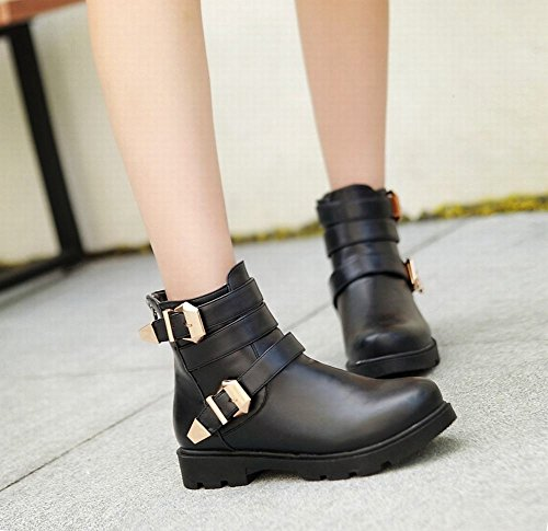 Fashion Buckle Zipper Multi Comfort Heel Boots Popular Short Black Carolbar Womens Low qwgx17