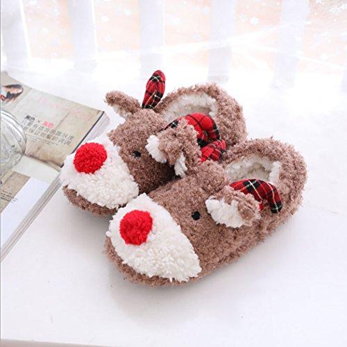Fascigirl Cute Slippers, Womens Christmas Slippers Anti-skid 3D Reindeer Warm House Slippers L