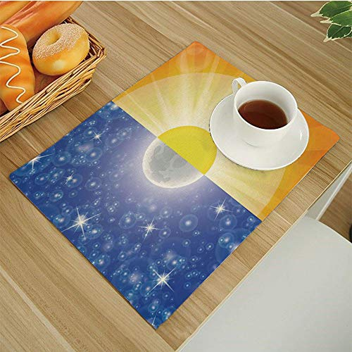 - Set of 6 Placemats Heat-Resistant Table Mat Washable Stain Resistant Anti-Skid Place Mats for Kitchen Dining Decoration,Apartment-Decor Split Design with Stars in the Sky and Sun Beams Light Solar Bal