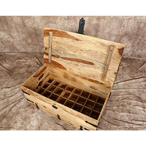 Trunk Coffee Table with Wine Storage (India) Features Removable Wooden Dividers and Solid Sheesham Wood Construction, Distressed Brown Finish, Ideal for Dining or Bars