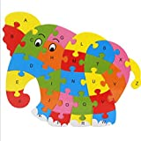 Yingealy Great Fun Gift Colorful Wooden Animal Number and Alphabet Jigsaw Puzzle Educational Toy for Kids(Elephant)