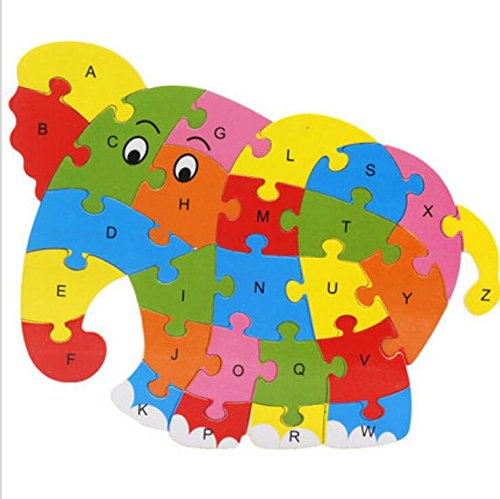 Polymer Colorful Wooden Animal Number and Alphabet Jigsaw Puzzle Educational Toy for Kids(Elephant) by Polymer (Image #4)