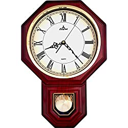 JUSTIME Traditional Schoolhouse Pendulum Wall Clock Chimes Hourly with Westminster Melody Made in Taiwan, 4AA Batteries Included (PP0258-RRM Red Mahogany)