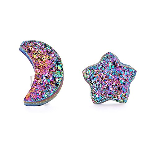 New 10mm Moon Star Shape Druzy Studs Earrings Agate Crystal Piercing Earrings Silver Jewelry (Red colorful)