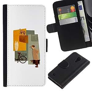 WINCASE (No Para S4 Mini) Cuadro Funda Voltear Cuero Ranura Tarjetas TPU Carcasas Protectora Cover Case Para Samsung Galaxy S4 IV I9500 - pastel minimalista dama de color beige