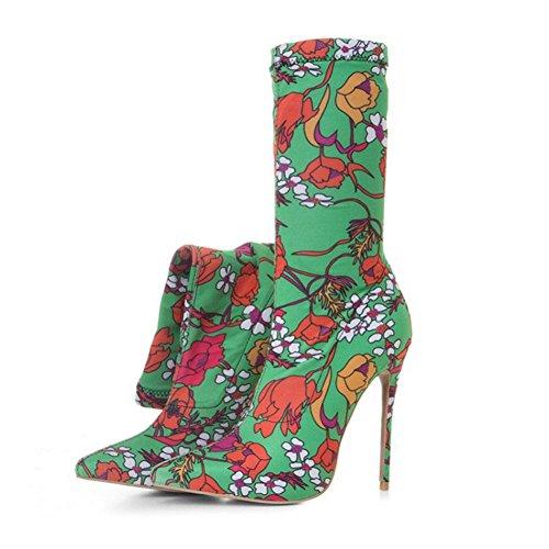 Damen Winter Verschleißfest BOTXV Mode und Stiefel Mittlere Atmungsaktiv Hochhackige Herbst Kurze Feine Stiefel Rohr Floral Spitzschuh Stiletto 8d4xaAwdr