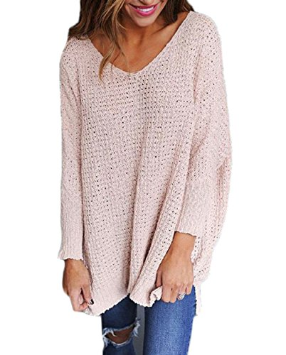 Chandail Pulls Ample Pull Pull Maille Oversize Longue V Femme Sweater Long Col Manche Over Tricot Pull xw8w0gn6q