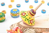 Yellow Painted Wooden Spinning Top Handmade Eco Toy For Children