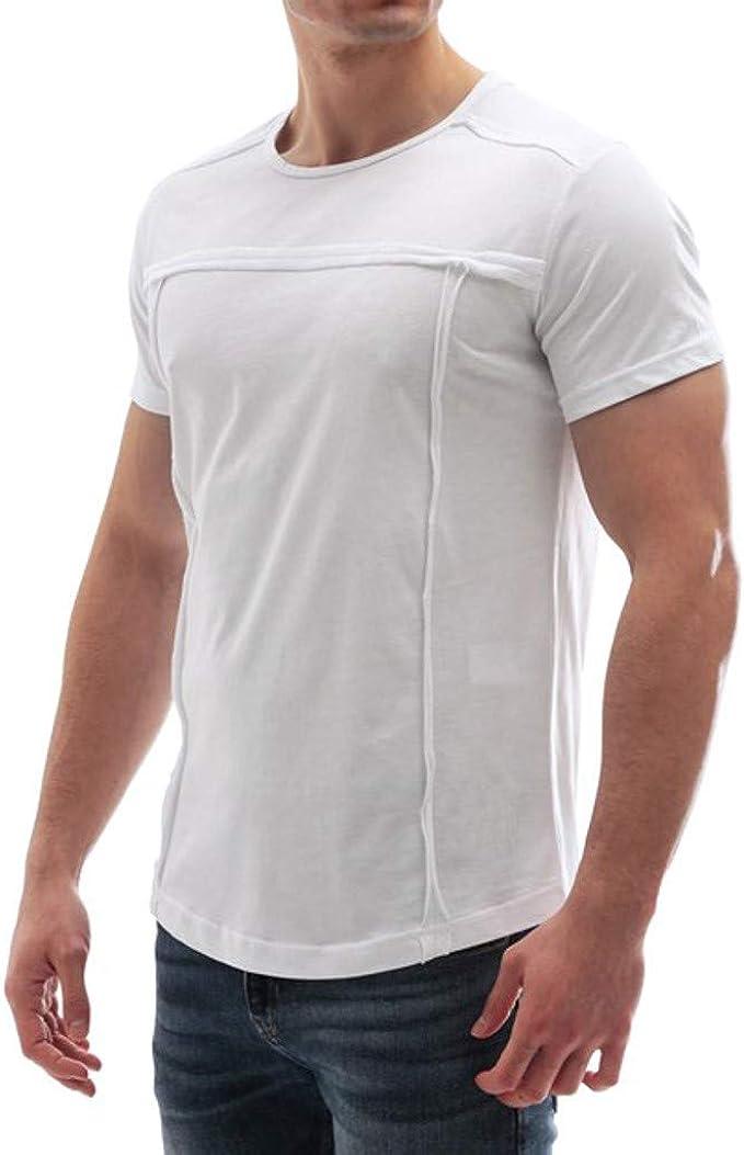 SHJIRsei Hombre Camisetas Verano Deportivo Camisetas Patchwork Gradiente de Color sólido de Manga Corta Camiseta con Cuello Redondo Tops Camisetas: Amazon.es: Ropa y accesorios