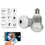 Jiusion Fisheye 360 Degree HD Wireless WIFI IP Hidden Panoramic Camera Spy Cam 960P HD Bulb Lamp Indoor Home Security Surveillance for iPhone Android