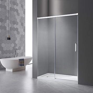 Mampara de ducha con sistema de apertura de puerta, sin perfil de aluminio inferior, cristal Nan ESG de 6 mm, altura regulable: 195 cm, 5 cm: Amazon.es: Bricolaje y herramientas