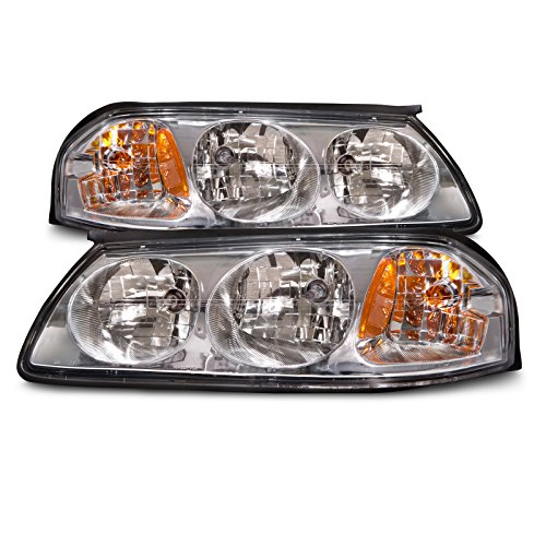 Headlights Depot Replacement for Chevrolet Chevy Impala Chrome Headlights Headlamps w/o Bulb Cap Pair Set (Chevy Impala Headlight Impala)