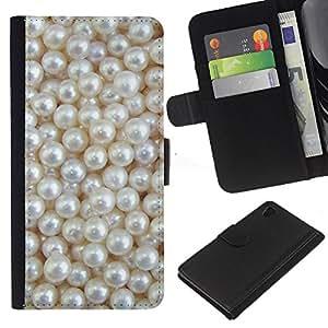 [Neutron-Star] Modelo colorido cuero de la carpeta del tirón del caso cubierta piel Holster Funda protecció Para Sony Xperia Z4v / Sony Xperia Z4 / E6508 [Blanca Rich joya de la perla de la gema]