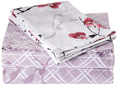 DaDa Bedding- 3-Pieces Floral Cherry Blossoms Red Purple Fitted Sheet & Pillow Cases Set- Full