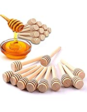 50 stuks houten honinglepels, draagbaar, honinglepel, roerstaaf, mini-hout, jam, honinglepel, honinglepel, voor honing/siroop/melasse/viscose vloeistoffen met uniek dipper design, 8 cm