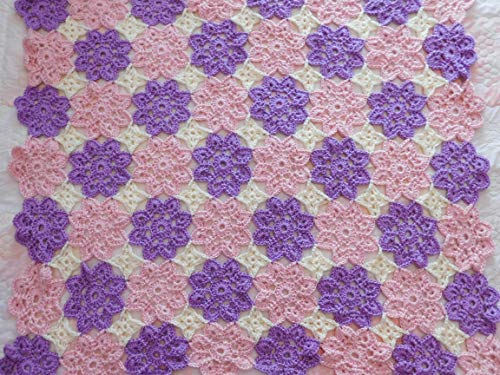 Baby Afghan Hand Crocheted Afghan, Throw, Blanket, Pink Lavender, and White