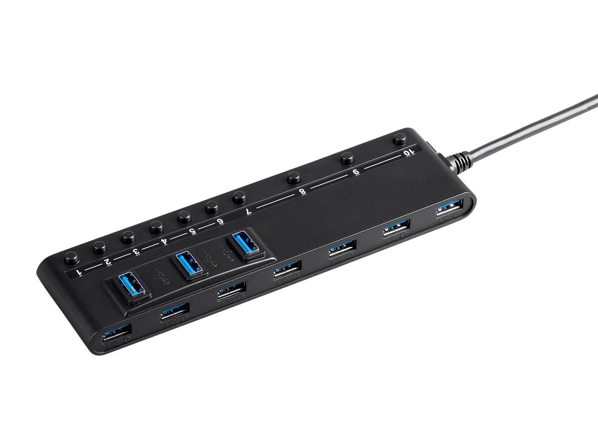 Black Monoprice 121787 USB 3.0 7-Port Switch Hub with AC Adapter