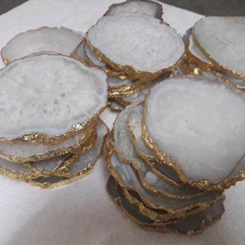 Godinger White Quartz Coasters Brass Edge, Set of ()