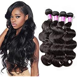Star Show Hair Body Wave Bundles Malaysian Virgin Hair Body Wave Human Hair Extensions 4 Bundles Body Wave Hair Weave Full And Thick Natural Color Can Be Dyed And Bleached 20'' /22''/ 24''/ 26''