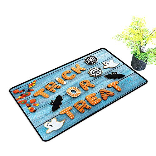 Zmstroy Welcome Door mat Halloween Fresh Trick or Treat Gingerbread Cookies on Blue Wooden Table Spider Web Ghost W35 xL47 Country Home Decor Multicolor]()