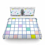 KESS InHouse VN1060ACD03 Vasare Nar ''Pastel Windowpane Grid'' King Cotton Duvet Cover, 104'' x 88''