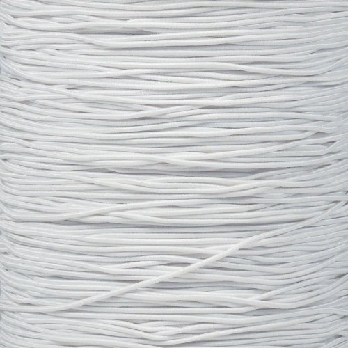 Craft County Elastic Nylon Bungee Stretch Shock Cord in 1/32 Inch and 1/16 Inch Diameters - Beading, Party Favors, Friendship Bracelets, DIY Craft Projects (White, 1/32 Inch X 1000 Feet) by Craft County