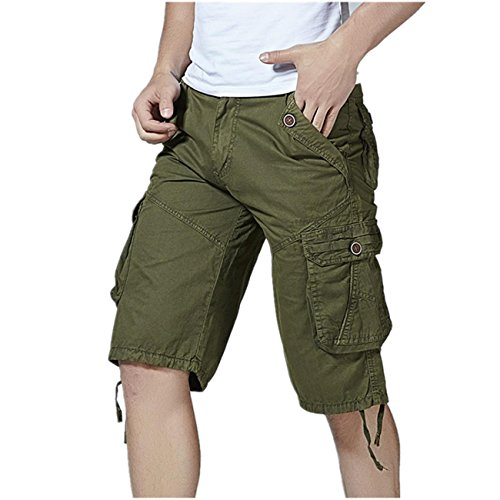 PASATO Clearance! Fashion Mens Casual Pocket Beach Work Casual Short Trouser Shorts, Classic Casual Pants(Army Green, 40) by PASATO